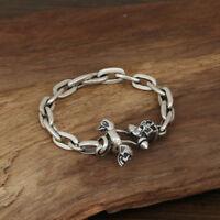 Men's Solid 925 Sterling Silver Bracelet Link Skull Loop Chain Jewelry
