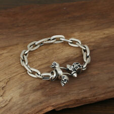 Heavy Men's Solid 925 Sterling Silver Bracelet Cable Link Skull Loop Chain