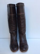 FRYE Jane 77231 Tall Stitched Leather Riding Brown Boots Size 8 B