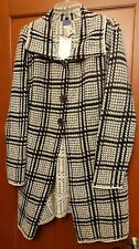 A2 ARMAND & ALBA car coat jacket sweater black white size Medium $98 retail NWT