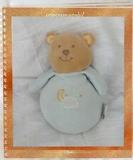 Doudou Peluche Musical Ours Bleu Broderie Nuage Lune Etoile AMTOYS