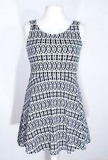Ladies black white aztec ikat tribal fit n flare sleeveless skater dress size 14