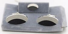 NWOT Handsome Silver Tone & Black Cufflinks & Tie Tac On Presentation Card