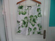Men's Abercrombie & Fitch White & Green Leaf Swim Shorts Beach Pool Shorts Small