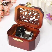 CLASSIC OCTAGON WOOD WIND UP MUSIC BOX:CASTLE IN THE SKY