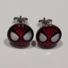 Pair of 316L Surgical Steel Spiderman Face Stud Earrings