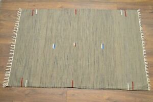 Handmade Carpet Rug Kilim Hand Knotted & Woven In India 180x120cm 100% Wool Gray