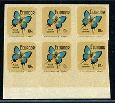 ECUADOR MNG Butterflies Specialized: Scott #789 10c IMPERF BLOCK of 6 $$$