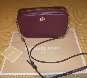 New Michael Kors Cross body Fulton Bag merlot gold RRP £275 soft leather