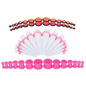 Stretching Kit Silicone Plugs Tapers 8G-12mm Pink and Pink Gauges Set 42-Pieces