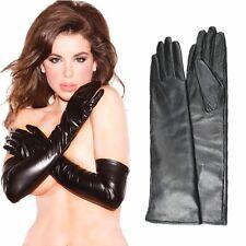 50cm(19.50 pouces)Femmes Noir 100% cuir long Opéra gants, Leather Evening Gloves