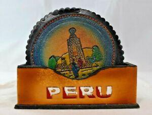 "Peru Souvenir - 3.5"" Round Leather Coaster Set w/Holder (4 Coaster Set)"