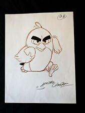 ANGRY BIRDS MOVIE Original Hand Drawn SANDRO CLUEZO SIGNED Red Concept Art