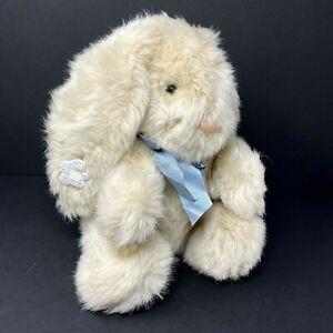 Applause Plush Easter Bunny Rabbit Tan Cream  Long Ear Realistic Blue Bow Vtg