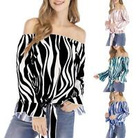 Women Striped Off Shoulder Bell Sleeve Shirts Front Tie Knot Casual Blouses Tops