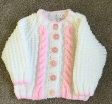 Handmade Babies Aran Cardigan White and Pink (3-6) months