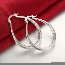 925 sterling silver filled oval hoop  vintage style earrings wedding jewellery