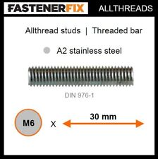 M6 x 30 mm allthread A2 stainless studs, threaded bar to DIN 976-1 (100 pack)