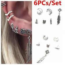 6PCs/Set Unisex Metal Animal Pattern Owl Earrings Ear Stud Leaves