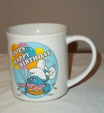VINTAGE SMURF OOPS HAPPY BIRTHDAY MUG PEYO 1982 COLLECTOR MUGS THE 80'S CLUMSY
