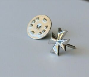 men Sterling Silver Malta Maltese Cross Lapel Pin Jacket Blazer Brooch batch