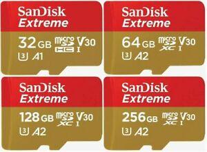 SanDisk MicroSD Card Extreme V30 A2 Class 10 32GB 64GB 128GB 256GB Memory Card