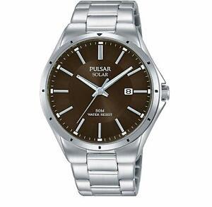 Pulsar Regular Solar Brown Dial Steel Bracelet Mens Watch PX3137X1 RRP £125