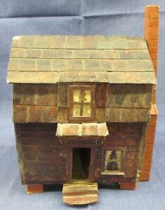"PRIMITIVE FOLK ART CABIN AMERICANA MODEL HOUSE UNIQUE 10"" TALL 5"" BY 7"" 2 STORY"