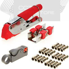 Compression Tool Coax Rg59 Rg6 BNC RCA F Connector Cable Stripper Crimper Set