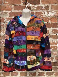 Ladies rainbow patchwork hoodie/jacket hippie/boho/festival size L
