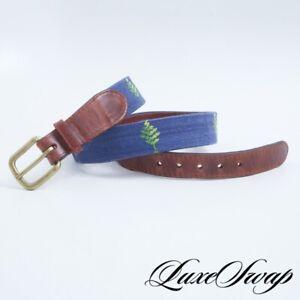 #1 MENSWEAR Smathers & Branson Hand Sewn Needlepoint Blue Single Tree Belt 32 NR
