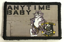 F14 Tomcat ANYTIME BABY Morale Patch Jolly Rogers Military Army Tactical Flag
