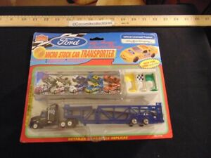 1997 Imperial Toy Ford Micro Stock Car with Transporter 1:144 Scale New in Box