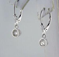 0.75Ct Tw  Bezel Dangle Stud Earrings Mountings For 3/8 Ct Each 14K White Gold
