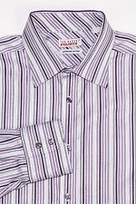 TED BAKER Endurance Men's Button Front Dress Shirt Gray Purple Striped Sz 17