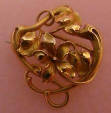 14 Karat Solid Gold Art Nouveau Pin/Pendant Flower Design Rich Gold