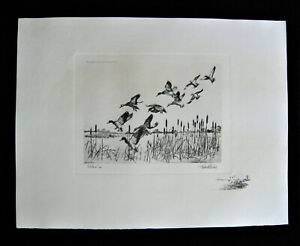 Richard Bishop etching ' Pitchin' In ', Photogravure reproduction print ~ 1940