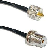 LMR200 Silver PL259 UHF Male to UHF Female BULKHEAD Coax RF Cable USA Lot