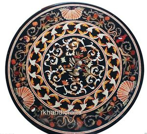 30 Inches Marble Coffee Table Top Round Shape Kitchen table with Cottage Crafts