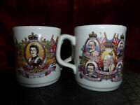 PAIR of 1977 QUEEN ELIZABETH II Silver Jubilee MUGS - ROYAL WARE MEMORABILIA
