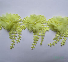 Wholesale 13yards/lot 9cm Yellow Embroidered Lace Edge Trim Ribbon DIY Sewing