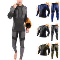 Men Thermal Underwear Set Sport Running Wicking Long Johns Compression Baselayer
