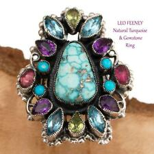 "LEO FEENEY Turquoise Ring ""Silver Pools"" Sterling 7 Gemstone Amethyst Garnets"