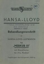 1935 HANSA LLOYD LASTWAGEN MERKUR 3 BETRIEBSANLEITUNG OWNER'S MANUAL DEUTSCH