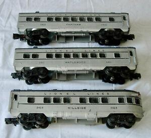 Lionel Lines #2421 2422 2423 Passenger Cars Illuminated