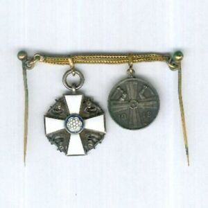 FINLAND. Miniature War of Liberation Pair, 1918, chain-mounted