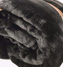 X LARGE JUMBO BLACK Mink FUR Blanket Sofa Bed Throw 200x240 Soft Thick Luxury