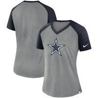 Dallas Cowboys Women's Fan Mid V Logo Short Sleeve Raglan T-Shirt - Gray/Navy