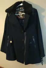 NWT Steve Madden Women's M Medium Navy Blue Pea Coat Faux Fur