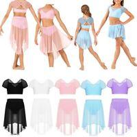 Girls Two-Pieces Lyrical Dance Dress Crop Top+Mesh Skirt Ballet Gym Dancewear